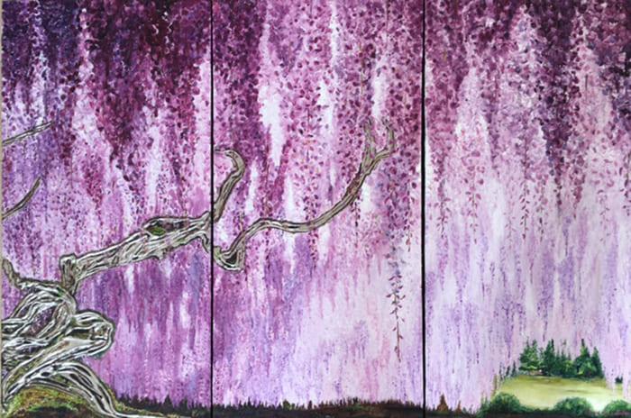1 wisteria japan 2016   60cm x 90cm   platinum japanese traditional lacquer.